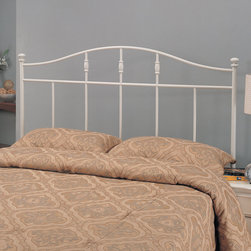 Coaster - Traditional Queen / Full Size Headboard in White - This metal headboard is finished in a beautiful cottage white. Simple and sleek in design, this headboard has clean but strong lines, adding great sturdiness. Available in a twin version, or a full/queen version that fits both full and queen bed frames.