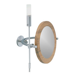 WS Bath Collections - WS1 8.6 in. Magnifying Mirror w Halogen Light - Choose Magnification: 3xMakeup Magnifying Mirror with Halogen Light. Massive Solid Stainless Steel Hand Brushed with Nutwood Frame. Made to Highest Industry Standards. Made in Germany. 8.6 inch or 15.9 inch extension. Product Material: Brushed Stainless Steel. Finish/Color: Silver. Dimensions: 10.6 in. Diameter