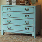 Hudson Blue Chest - This pale blue dresser will add a big dose of retro regency style to your bedroom or any other room in the house that requires some extra storage.