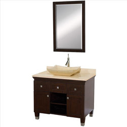 "Wyndham Collection - Wyndham Premiere Vanity 36"" Espresso - A bridge between traditional and modern design, and part of the Wyndham Collection Designer Series by Christopher Grubb, the Premiere Single Vanity is at home in almost every bathroom decor, blending the simple lines of modern design like vessel sinks and brushed chrome hardware with transitional elements like shaker doors, resulting in a timeless piece of bathroom furniture."