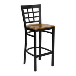 Flash Furniture - Flash Furniture Hercules Series Black Window Back Metal Restaurant Barstool - This heavy duty commercial metal bar stool is ideal for restaurants, hotels, bars, pool halls, lounges, and in the home. The lightweight design of the stool makes it easy to move around. The tubular foot rest not only supports your feet, but acts as an additional reinforcement that helps secure the legs. You will not regret the purchase of this bar stool that is sure to complement any environment to fill the void in your decor. [XU-DG6R7BWIN-BAR-CHYW-GG]