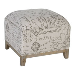Uttermost - Amrit Cube Ottoman - A solid oak leg base and hardwood frame make a sturdy foundation for this versatile, cube-style ottoman in script-printed linen.