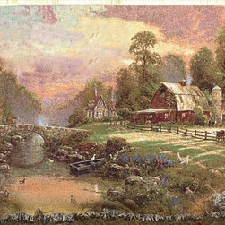 Manual - Thomas Kinkade Sunset At Riverbend Farm Tapestry Throw Blanket 50 Inch x 60 Inch - This multicolored woven tapestry throw blanket is a wonderful addition to any home. Made of cotton, the blanket measures 50 inches wide, 60 inches long, and has approximately 1 1/2 inches of fringe around the border. The blanket features a depiction of Thomas Kinkade's 'Sunset At Riverbend Farm'. Care instructions are to machine wash in cold water on a delicate cycle, tumble dry on low heat, wash with dark colors separately, and do not bleach. This comfy blanket makes a great gift for friends and family.