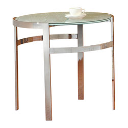 Homelegance - Homelegance Sangster Round Glass End Table in Chrome Framing - Ultra modern and ultra contemporary, the crackle glass tabletops of the Sangster collection are cradled by chrome circular framing.