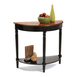 Convenience Concepts - French Country Entryway Table w Shelf - Lower storage shelf. Solid rubber wood legs for strength. Top, apron and shelf are made from MDF with oak veneer. Cherry and black finish. Assembly required. 31.5 in. W x 14 in. D x 30 in. H (25 lbs.)Matches other items in French Country Collection.
