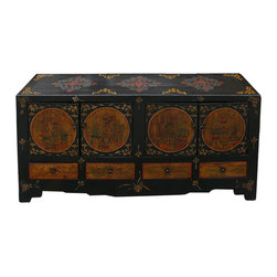 Golden Lotus - Black Yellow Flowers Vases Graphic Low Cabinet - This is an oriental accent enriched low TV stand made of solid wood with hand painted flowers and vases colorful graphic and simple hardware. It can be a console, bench, or TV stand.