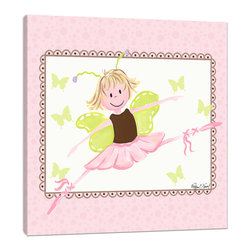 """Doodlefish - Ballerina with Browns - 18"""" x 18"""" Gallery Wrapped Giclee Print of a leaping ballerina fairy. Artwork  This piece comes in Pink and Black, as well as Pink and Brown."""