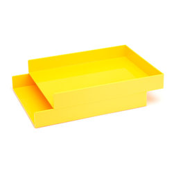 Poppin - Letter Trays, Yellow, Set of 2 - Get shelter from incoming clutter bombs with this set of two stackable boxes. Each measures 12 1/2 by 9 3/4 by 1 3/4 inches, is finished in your choice of eye-popping colors in a lacquer-like finish and coordinates with other accessories in the same line. Stack up some tidy style points.