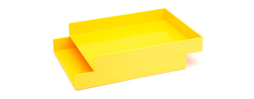 Poppin - Letter Trays, Set Of 2, Yellow - Get shelter from incoming clutter bombs with this set of two stackable boxes. Each measures 12 1/2 by 9 3/4 by 1 3/4 inches, is finished in your choice of eye-popping colors in a lacquer-like finish and coordinates with other accessories in the same line. Stack up some tidy style points.
