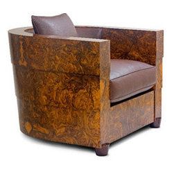 Guggenheim Chair - Guggenheim Chair, Award winner. Design in Wood International Competition. English Walnut burl. Leather upholstery, Hand polished varnish finish.