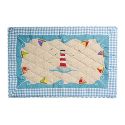 "Wingreen - WinGreen Small Beach House Floor Quilt - Our Beach House Floor Quilt is appliqued and embroidered with a big, bright lighthouse and sail boats bobbing along the ocean waves! These lightly padded floor quilts are designed to fit the base of the WinGreen Beach House Playhouses. They also make great rugs or playmats. Machine washable. Available in 2 sizes. Small: 43.30"" x 29.13"" and Large: 52.75"" x 43.30"""