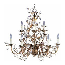 Maxim Lighting International - Elegante Etruscan Gold Nine-Light Chandelier - Treat the eye to the captivating charm of this enchanting nine-light chandelier.  Its Etruscan gold finish defines the vine-inspired lines that showcase sparkling crystals for a truly dazzling look.  Fabulous and flirty, this piece will instantly become one of your favorite treasures.  Please note that it includes 6? of chain.  Maxim Lighting International - 2852EG