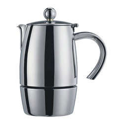 Cuisinox - Cuisinox Liberta 10 cup Espresso Coffeemaker - Cuisinox introduces simplicity and design in its latest addition to its' already extensive line of superior quality stainless steel espresso coffeemakers. Inspired by Italian art and culture, the Liberta solid body design features a neatly hidden safety valve in a superior quality 18/10 stainless steel mirror finish and induction base suitable for all cooking surfaces. This exceptional espresso coffeemaker is unique and practical. Other sizes available.