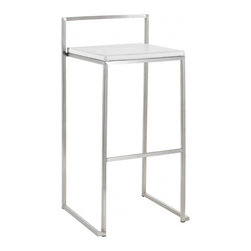 Nuevo Living - Genoa White Leather Counter Stool by Nuevo - HGBO152 - The Genoa modern stool in white leather adds modern elegance to any space. This contemporary bar stool can make its home at your kitchen bar, a bar table, or anywhere else stylish seating is needed. Available in your choice of leather color complemented by a