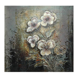 Crestview Collection - Crestview Collection Poppies Botanical Paint on Curving Cleat with High Gloss Wa - Crestview Collection Poppies Botanical Paint on Curving Cleat with High Gloss Wall Art X-7511POTVC