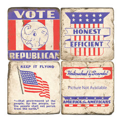 Studio Vertu - Republican Coasters (Set of 4) - Toast to the USA! Perfect for watching Scandal, Veep, House of Cards, or 2016 election coverage. Celebrate the GOP with these handmade coasters featuring Republican and political imagery. These red, white, and blue coasters are handmade in a Cincinnati studio using tumbled Italian botticino marble with cork backing. Please note that due to the natural marble, any imperfections are inherent to the design and add to the natural beauty of these coasters.   About the Artist: Studio Vertu's success story began in 1995, when owner Mark Schmidt developed the concept of Lightweight Fresco Tile. Schmidt saw the product as an alternative to permanently mounted marble tiles or hand-painted mural. His insight led to Studio Vertu being awarded an installation at The National Football League Headquarters in New York City. In addition to developing large-scale installations, Schmidt wanted to bring the idea of original artwork on marble tile to homes, allowing more people to enjoy the pieces. In the spring of 1995, Studio Vertu introduced 10 sets of Italian Marble Coasters, each consisting of four different images, and a business was born. Studio Vertu continues to hand make their marble artwork in their Cincinnati-based studio.  Studio Vertu installation at NFL Headquarters in NYC   Product Details: