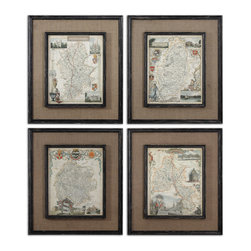 Uttermost - Countryside Maps Wall Art, Set of 4 - Have you ever wanted to get lost in the countryside? Just give yourself up to the day and whatever it may bring? Try traveling in your own home. Let these maps take you to far off places, where no one knows your name.