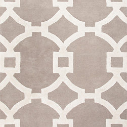 Jaipur Rugs - Hand-Tufted Geometric Pattern Wool/ Art Silk Gray/Ivory Area Rug - Over scaled sharp geometrics characterize this striking contemporary range of  hand tufted rugs. The high/low construction in wool and art silk creates texture and surface interest and gives a look of matt and shine. Origin: India