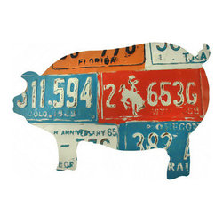 Pig Shaped License Plate Collage Metal Wall Art - This cool piece of art is sure to be admired by all that view it, and it complements most any home decor! It is a pig shaped collage of old license plates, and adds a bit of rustic charm in the home or on the porch or patio. It measures 24 inches long, 15 1/2 inches tall, and easily mounts to the wall with 2 nails. It is a great conversation piece, and makes a wonderful gift.