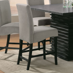 "Coaster - Stanton Collection Barstool in Grey, Set of 2 - The Stanton collection will give your contemporary casual dining and entertainment room a bold update. With its unique wave design and different chair options, you can mix and match to create the perfect look for your home. Made from ash veneers and finished in a rich black tone.; Contemporary Style; Stanton Collection; Finish: Black; Fabric Color: Grey; No assembly required.; Dimensions: 18.75""L x 22""W x 41.75""H"