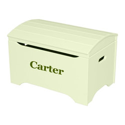 Little Colorado - Little Colorado Solid Wood Toy Storage Chest with Personalization - Pastel Green - Shop for Childrens Toy Boxes and Storage from Hayneedle.com! In a light pleasant hue that's good for a boy's or girl's room the Little Colorado Solid Wood Toy Storage Chest with Personalization - Pastel Green Finish is an easy choice. This hardwood chest weighs in at 37 lbs and offers solid construction and an attractive arch-top lid. Choose from black blue green pink purple red or white text in vinyl letters. Imagine the joy when you have your child's name on the face of this classic toy chest. Some assembly is required. Dimensions: 29L x 19W x 18H inches. Little Colorado is a Green CompanyAll finishes are water-based low-VOC made by Sherwin Williams and other American manufacturers. Wood raw materials come from environmentally responsible suppliers. MDF used is manufactured by Plum Creek and is certified green CARB-compliant and low-formaldehyde. All packing insulation is 100% post-consumer recycled. All shipping cartons are either 100% post-consumer recycled or are made of recycled cardboard. About Little ColoradoBegun in 1987 Little Colorado Inc. creates solid wood hand-crafted children's furniture. It's a family-owned business that takes pride in building products that are classic stylish and an excellent value. All Little Colorado products are proudly made in the U.S.A. with lead-free paints and materials. With a look that's very expensive but a price that is not Little Colorado products bring quality and affordability to your little one's room.
