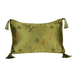 Pre-owned Green Cherry Blossom Silk Brocade Pillow - 12x18 - Layering on the perfect throw pillow is the cherry on top for achieving an effortlessly styled effect in your room. This adorable 12x18 green silk pillow features a cherry blossom design, corner tassels, piping, and a down/feather insert.