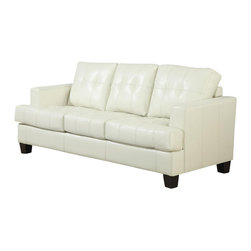 Adarn Inc - Bonded Leather Upholstered Samuel Sofa Sleeper w/ Tufted Cushions, Cream - You can have a great space saver as well as a stylish addition to any bedroom with help from this sleeper. The piece is wrapped in either a cream, black or dark brown bonded leather upholstery and features plush seating as well as tufted cushions. You're bound to be pleased with this sleeper in your living room.