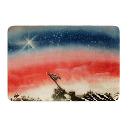 """KESS InHouse - Infinite Spray Art """"Veteran's Day"""" Red Blue Memory Foam Bath Mat (17"""" x 24"""") - These super absorbent bath mats will add comfort and style to your bathroom. These memory foam mats will feel like you are in a spa every time you step out of the shower. Available in two sizes, 17"""" x 24"""" and 24"""" x 36"""", with a .5"""" thickness and non skid backing, these will fit every style of bathroom. Add comfort like never before in front of your vanity, sink, bathtub, shower or even laundry room. Machine wash cold, gentle cycle, tumble dry low or lay flat to dry. Printed on single side."""