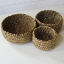 Nested Jute Bowls by Sosorosey - Oh, how I could organize the little things in life with these crocheted jute bowls! I'd place one in the foyer for keys, one near the kitchen sink for jewelry and one in the bathroom for cotton balls.