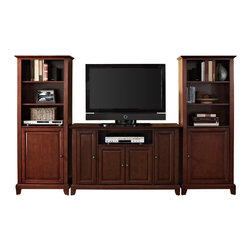 "Crosley - Newport 48"" TV Stand and Two 60"" Audio Piers in Vintage Mahogany Finish - Our 48"" TV stand and audio pier combination offers a unique solution for both display and storage. Extremely versatile, this combo features adjustable shelves allowing you to effortlessly organize by design. Two audio piers save space yet provide abundant storage options, while the TV stand offers a cord management system that tames the unsightly mess of tangled wires."