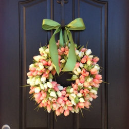 Tulips Front Door Wreath Door by Two Inspire You - I love the colors in this wreath, and the tulips are especially beautiful. Soft and subdued, it would look great on a number of different door colors.