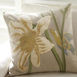 Bird And Flower Embroidered Pillow Cover - If bright color is not your thing, pair one of the spring drapes with this gorgeous pillow. What a pretty, soft spring look.