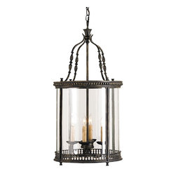 Currey and Company - Currey & Co Grayson Lantern - An attractively detailed wrought iron design forms the pinnacle of this four light lantern while decorative metal bands surround the top and bottom of the vintage glass panels. The finish is French Black. This lantern is part of the Lillian August Collection for Currey & Company.