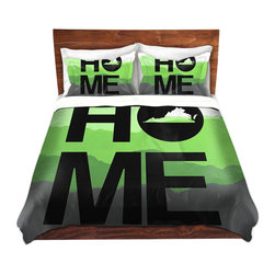 DiaNoche Designs - Duvet Cover Twill - Home Virginia Green - Lightweight and super soft brushed twill Duvet Cover sizes Twin, Queen, King.  This duvet is designed to wash upon arrival for maximum softness.   Each duvet starts by looming the fabric and cutting to the size ordered.  The Image is printed and your Duvet Cover is meticulously sewn together with ties in each corner and a concealed zip closure.  All in the USA!!  Poly top with a Cotton Poly underside.  Dye Sublimation printing permanently adheres the ink to the material for long life and durability. Printed top, cream colored bottom, Machine Washable, Product may vary slightly from image.