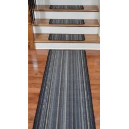 "Dean Flooring Company - Washable Non-Skid Carpet Stair Treads - Linear Rhythm Grey (13) PLUS Runner - Washable Non-Skid Carpet Stair Treads - Linear Rhythm Grey (13) PLUS a Matching 5' Runner : Washable non-skid carpet stair treads by Dean Flooring Company. Helps reduce slips on your hardwood stairs. Great for helping your dog easily navigate your slippery staircase. Polypropylene pile with a machine washable non-skid latex backing (wash on delicate in cold water, line dry). Also easy to spot clean or vacuum. Reduces noise. Reduces wear and tear on your hardwood stairs. Each set contains 13 pieces PLUS a matching 5' runner. Each tread is approximately 25"" x 9"". Easy DIY installation with double-sided carpet tape (not included). Adds an attractive fresh new look to your staircase."