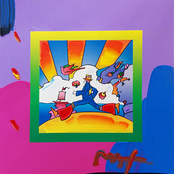 Hand Signed Cosmic Runner (Overpaint) By Peter Max Popart Pop Art - PETER MAX RARE FABULOUS BEAUTIFUL PETER MAX MIXED MEDIA ON PAPER.  Hand signed. Studio stamp on verso with title and year. Artwork is in excellent condition. Certificate of Authenticity included. This is your opportunity to own a fabulous original Peter Max hand signed Mixed Media on Paper.