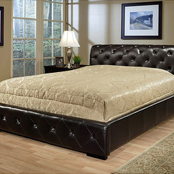 Abbyson Living - Abbyson Living Delano Dark Brown Bi-cast Leather King-size Bed - Boost the ambiance in your bedroom with this luxurious king-size leather headboard. The faux leather looks fresh and contemporary,while the solid hardwood base and slat design ensure sturdy convenience. This headboard does not require a box spring.
