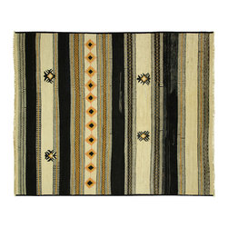 Manhattan Rugs - New Navajo Stripe 8'x10' Black/Ivory Hand Knotted Wool Rug Mesa Collection MC140 - This is a true hand knotted oriental rug. it is not hand tufted with backing, not hooked or machine made. our entire inventory is made of hand knotted rugs. (all we do is hand knotted)