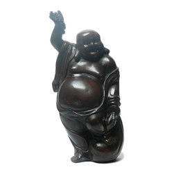 Golden Lotus - Chinese Bronze Metal Crafted Happy Laughing Buddha Figure - This is an oriental Chinese Happy Buddha figure made of metal. It is good as a gift to decorate home or personal cherish.
