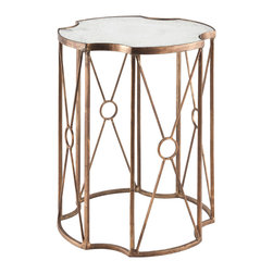 Kathy Kuo Home - Marlene Hollywood Regency Gold Leaf Antique Mirror Side End Table - Short - The shape of the table top and the elegantly designed vertical supports has made the Marlene side table one of our staff's favorite pieces. A gold leaf finish and an antiqued mirror add an extra touch of sophistication to this beautiful side table.