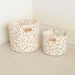 Pehr - Dancing Dots Canvas Basket - Of course, if you have lots of odds and ends to conceal on your open shelving, splurge on the cutest baskets that you can find. These polka dot ones are irresistible — I also want them for my daughter's room.