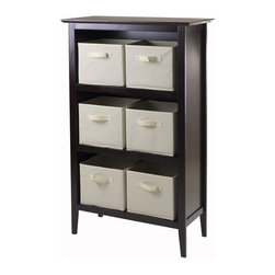 Winsome Wood - 30 in. Wooden Storage Unit - Includes six foldable beige fabric baskets. Espresso, chocolate finish. Assembly required. Shelf: 30 in. W x 13.80 in. D x 48 in. H. Baskets: 10.97 in. W x 10.06 in. D x 9 in. H. Storage unit: 30 in. W x 13.8 in. D x 48 in. H