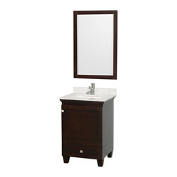 "Wyndham Collection - Wyndham Collection 24"" Acclaim Espresso Single Vanity w/ White Porcelain Sink - Sublimely linking traditional and modern design aesthetics, and part of the exclusive Wyndham Collection Designer Series by Christopher Grubb, the Acclaim Vanity is at home in almost every bathroom decor. This solid oak vanity blends the simple lines of traditional design with modern elements like square undermount sinks and brushed chrome hardware, resulting in a timeless piece of bathroom furniture. The Acclaim comes with a White Carrera or Ivory marble counter, porcelain, marble or granite sinks, and matching mirrors. Featuring soft close door hinges and drawer glides, you'll never hear a noisy door again! Meticulously finished with brushed chrome hardware, the attention to detail on this beautiful vanity is second to none and is sure to be envy of your friends and neighbors!"
