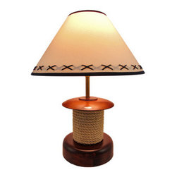 Nautical Wooden Spool of Rope Table Lamp with Shade 20 In. - This lamp is a lovely accent to end tables, nightstands, or tables in rooms with a nautical theme. It is made of wood with a cherry colored stain and features rope coiled around the center, as though it were on a spool. The lamp measures 20 inches tall, has a 7 3/4 inch diameter base, and comes with a 15 inch diameter shade. It uses a 60 watt (max) type A bulb (not included), has a black 5 foot long power cord with a thumb wheel on/off switch, and the base of the lamp is lined with velour to protect it from scratching delicate surfaces.