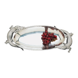 Arthur Court - Alligator Centerpiece Tray - Your eye for extraordinary objects naturally led you to this intriguing tray. Crafted of aluminum with alligator handles, it's more than a serving piece, it's a conversation starter.