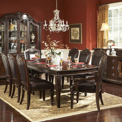 Homelegance - Homelegance Palace 9 Piece Dining Room Set w/ Buffet - The Palace Collection exemplifies the best of Old World Europe. Egg and dart moldings, rope twists, acanthus and tobacco leaf carvings and florets accentuate each piece; the Palace Collection has it all. These many exquisite details married with a rich br - 1394-108-50-9-SET.  Product features: Belongs to Palace Collection; Egg and dart base moldings; Rope twists under case tops and on bed posts; Acanthus and tobacco leaf carvings; Florets and inset marble tops; Many exquisite details married with a rich brown finish on cherry veneers; Golden highligh. Product includes: Dining Table (1); Arm Chair (2); Side Chair (4); Server (1); Buffet & Hutch (1). 9 Piece Dining Room Set w/ Buffet belongs to Palace Collection by Homelegance.