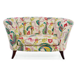 Athena Settee - This fun fabric would look great in a teen's room.