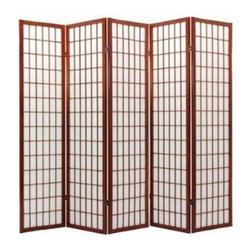 None - Oriental Shoji 5-panel Cappuccino Room Divider Screen - This Oriental Shoji room divider features five wood-frame panels with durable rice paper screens. With a cappuccino finish on wood, this divider is perfect for adding a touch of class and privacy to any room.