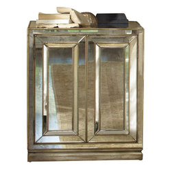 Hooker Furniture - Two-Door Mirrored Nightstand - This is true love, not a one night stand. Made of wood and covered in antiqued mirror panels, this piece is sure to shine in your bedroom. But, at 36 inches high, it also makes a perfect partner in other areas of your home. Open the doors to reveal interior, adjustable shelves.