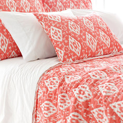 Ramala Coral Duvet Cover - Superb softness. Sun-kissed coral color. A gently distressed, vintage look. All lend the Ramala Coral Duvet Cover a cozy beauty that invites lounging and lingering. The gorgeously intricate pattern is Indian inspired, inviting dreams of exotic locales and faraway lands. As each cover is enzyme washed, variations in color are to be expected.